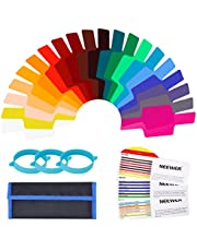 Neewer 20 Pieces Camera Flash Gels Lighting Filter Transparent Color Correction Filter Kit with 3 Pieces Attachment Band and Storage Pouch for Photo Studio Flash