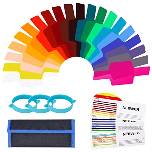 Neewer Kit de 20-pieza Filtro de Gel de Correcion de Color Transparente para Camara Flash Speedlite con 3 Bandas de Fijacion y Bolsa de Almacenamiento para Fotografia Estudio Ilumincacion