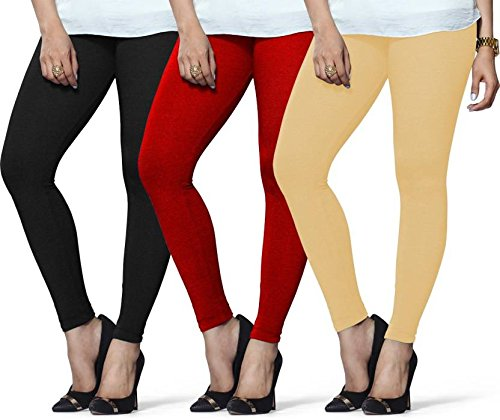 ff455f1951d95 Lux-Lyra-Ankle-Length-Black-11-Red-12-Beige-18-Cotton-Legging-Pack-Of-3pcs:  Amazon.in: Clothing & Accessories