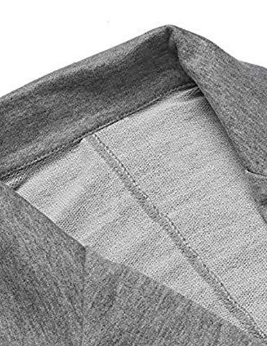 Para De Trabajo Chaqueta Larga Abrigo Manga Trajes Traje Vestir Pioleuk Cardigan Gris Delgado Casual Mujer Ewqtng
