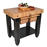 John Boos Gathering Block II - 36''W x24''D End-Grain Butcher Block, 2 Basket Drawers, French Roast Base