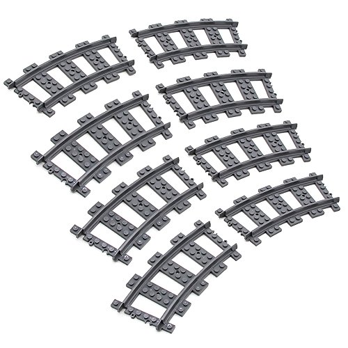 et, City RC Curved/Straight/Flexible Trains Rail Non-Powered Rail Compatible for Major Brands Train Tracks Track Railroad Construction Toy(Cruve) ()
