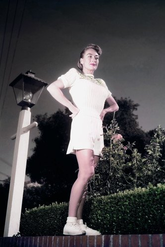 (Joan Crawford full length in tennis outfit at her home 1940's 24x36 Poster)
