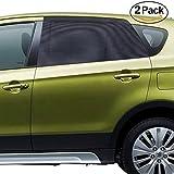 Car Side Window Sun Shade for Car Sun Protection (LARGE), Ampper Car Window Double Layer Socks Baby Sunshade for LARGE Car Window (Black, 2 Pack)