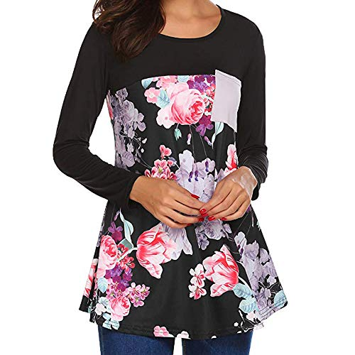clearance sale!!ZEFOTIM Women Casual Floral Printing Patchwork Tunic Shirt Long Sleeve Top Blouse (US-10/CN-M,A-Black)]()
