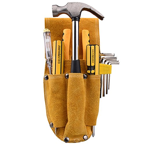 Professional Electrician Waist Work Apron Thick Cowhide Durable Woodworking Hardware Pliers Set Multi-function Tool Pocket for hammer Nail Screwdriver HJ0005 by TUYU (Image #5)