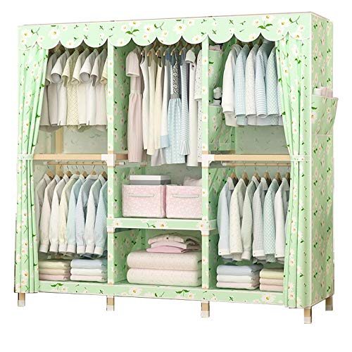 Armoire Cotton (HMEIGUI Portable Closet Shelves Cloth Wardrobe - Brushed Cotton Armoire Wardrobe Closet with Hanging Rod, Reinforced Solid Wood,Green_69x59inch)