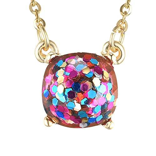 Multicolor Rainbow Glitter Choker Necklace Vacumm Gold Plated Square Dot Fashion Jewelry for Women Girls