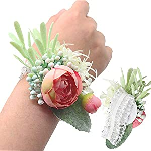 Yokoke Artificial Succulent Boutonniere Bouquet Corsage Wristlet Vintage Silk Fake Pink Flowers flocked Plants For Groom Bride Wedding Decor 2 Pcs (Wristlet) 48