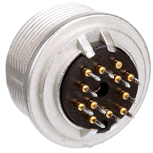 connector; circular din; female chassis socket w/pcb pins; front mount; 12 cont; ip40, Pack of 2