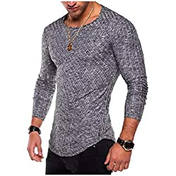Pure Color Pullover Crewneck Silm Fit T-Shirt