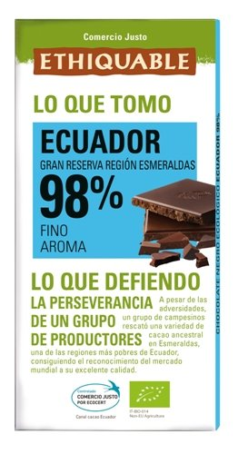 Ethiquable Chocolate Negro 98% Cacao Ecuador Bio - 100 gr: Amazon.es: Alimentación y bebidas