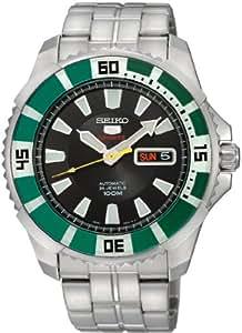 Seiko SRP205 - Reloj analógico automático para hombre con correa de acero inoxidable, color negro