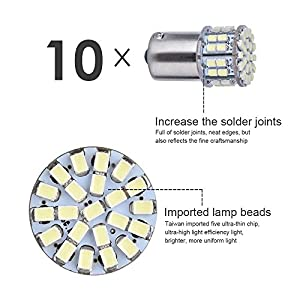 Smautop 10pcs 1156 Bright BA15S 1141 1003 50 SMD 1206 Bulb White 1156 Led Bulbs For Car Interior RV Camper light Parameters Are Real No Virtual-2 Years Warranty