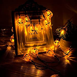 Eurus Home Halloween Pumpkin String Lights 33 ft with 50 LEDs,Solar Powered Jack-O-Lantern Decorative Lights for Patio,Parties (IP65 Waterproof,8 Light Modes,Warm White)