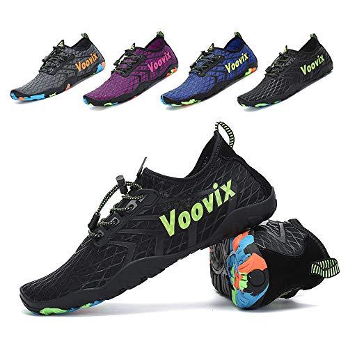 (Leaproo Water Shoes Men Women Aqua Socks Barefoot Swim Yoga Surf Shoes for Beach Pool Diving Walking Hiking black42)
