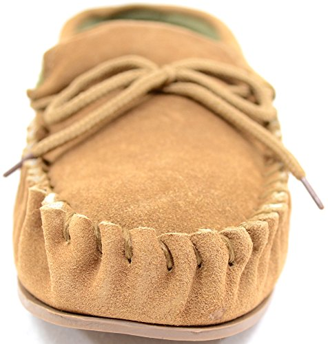 Mens Traditional Genuine Suede Leather Moccasin / Slippers with Rubber Sole Tan 832IQnD5ja