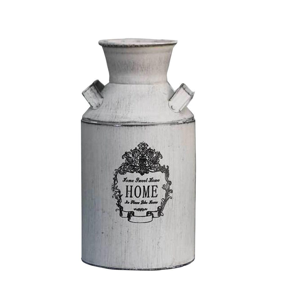 Watering Honey French Style Country Rustic Primitive Jug Vase Milk Can for Home Decoration by Watering Honey
