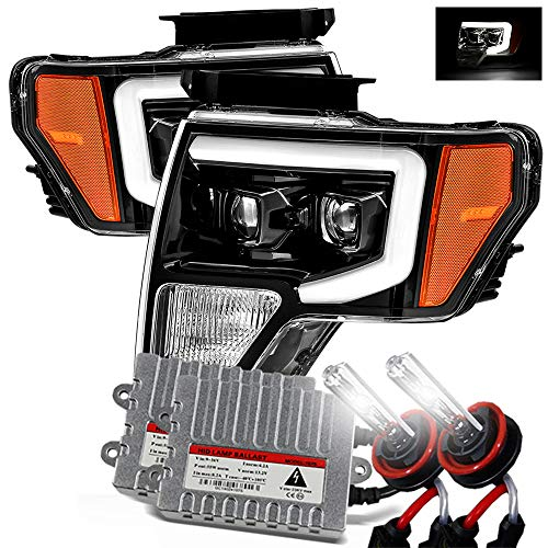 Modifystreet 6000K Xenon/Polished Black 09-14 Ford F150 DRL LED Tube Dual Projector Headlights