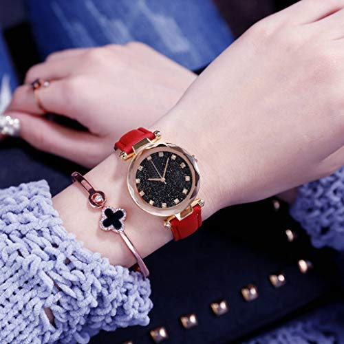 Watch Belt Starry Sky Watch Female Leisure Quartz Watches Simple Watch Round Retro Watch Girl's Personality Watch Glass Dial Leather Wristband Watch,Red