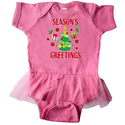 (inktastic - Seasons Greetings with Infant Tutu Bodysuit 6 Months Raspberry 33244)