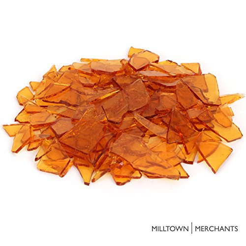 Milltown Merchants™ Amber Stained Glass Pieces 1 lb - Transparent Stained Glass Cobbles - Broken Glass Chips for Stepping Stones and Crafts - Bright Color Glass Coblets
