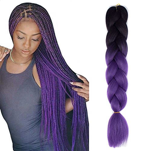 JIAMEISI Extension Kanekalon Braiding Black Purple