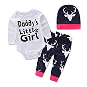 Efaster Newborn Baby Girls Boys Tops Romper +Long Pants Hat Outfits Set Clothes (9-12M)