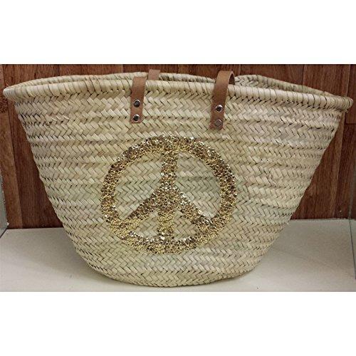 Buckle Up cestino Borsa/spiaggia borsa P-Peace simple oro (916458), nuovo