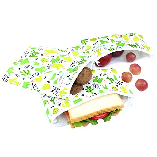 - Langsprit Premium Reusable Sandwich & Snack Bags- Eco Friendly Dishwasher Safe Lunch Bags - Set of 3 - (Cactus)