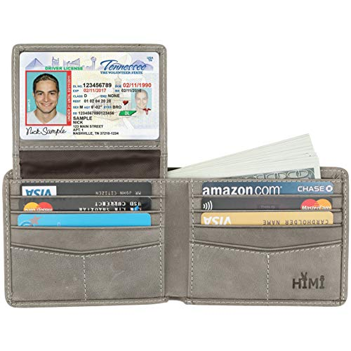 - Wallet for Men-Genuine Leather RFID Blocking Bifold Stylish Wallet With 2 ID Window (Slate Gray)