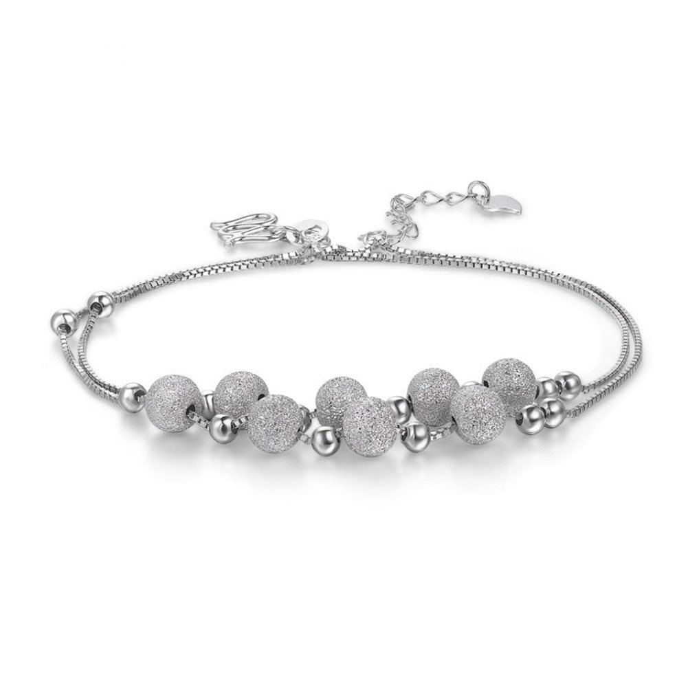 Mmiiss Multi Layer Chain Anklets with Small Beads 925 Sterling Silver Fashion Anklets for Woman (style8)