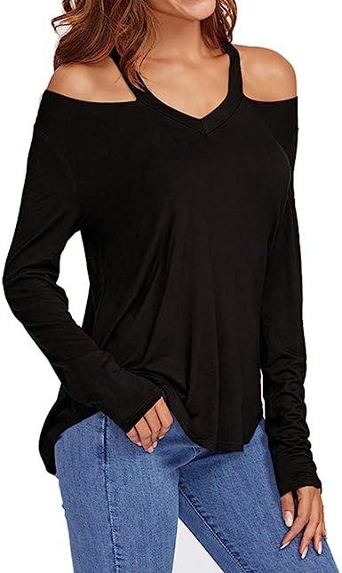 Camiseta de Mujer, Elegante Sexy Manga Larga Color sólido Hombro sin Tirantes Moda Fiesta Cuello en v Blusa y Camisa Suelto Verano Camiseta Tops Casual T-Shirt Original vpass: Amazon.es: Ropa y accesorios