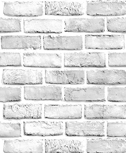HaokHome 61022 Peel & Stick Faux White Brick Wallpaper White/Grey Self Adhesive Contact Paper Wall Furniture Sticker (Brick Furnitures)