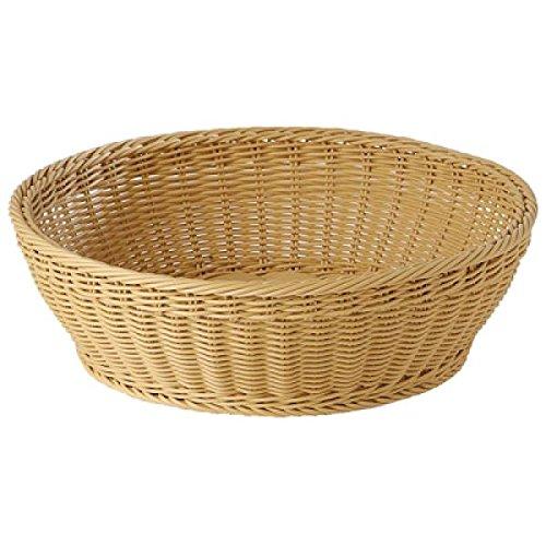 World Cuisine 42968-42 Round Polyrattan Buffet Basket, Beige - Polyrattan Bread Basket