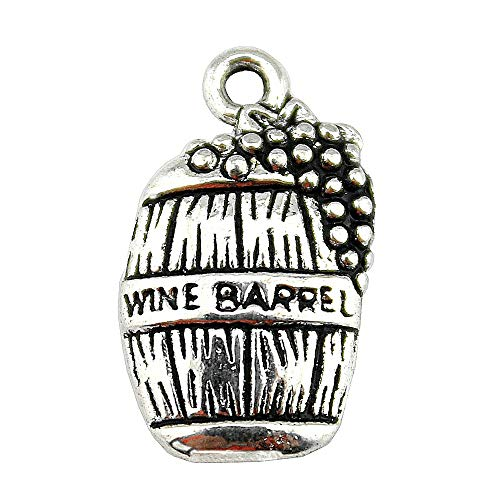 Wine Charms Wholesale - NEWME 60pcs wine barrel Charms Pendant For DIY Jewelry Wholesale Crafting Bracelet and Necklace Making