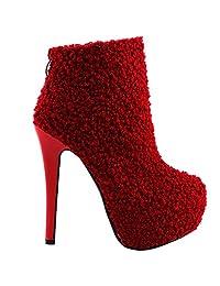Show Story Womens Stylish Hidden Platform Stiletto Ankle Bootie Boots,LF80856