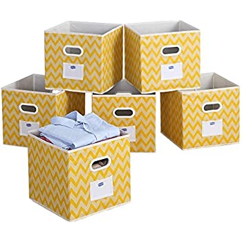 "FoldableClothStorageBinsBasketDurableFabricDrawerOrganizers,12"",Yellow,6-pack"