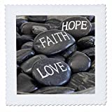 3dRose Andrea Haase Still Life Photography - Black Pebble With Engraved Words Love Faith Hope - 22x22 inch quilt square (qs_268540_9)