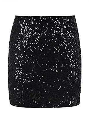 PrettyGuide Women's Sequin Skirt Stretchy Bodycon Shiny Mini Skirt Club Skirt L Black