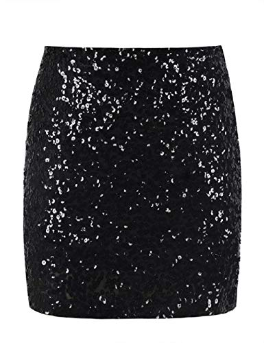 PrettyGuide Women's Sequin Skirt Stretchy Bodycon Plus Size Glitter Mini Skirt XXL Black