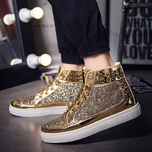 Männer und Frauen Nieten Rock Punk flache Schuhe Paar Mode Skateboard Schuhe Unisex Hallo-Top Sneakers Gold