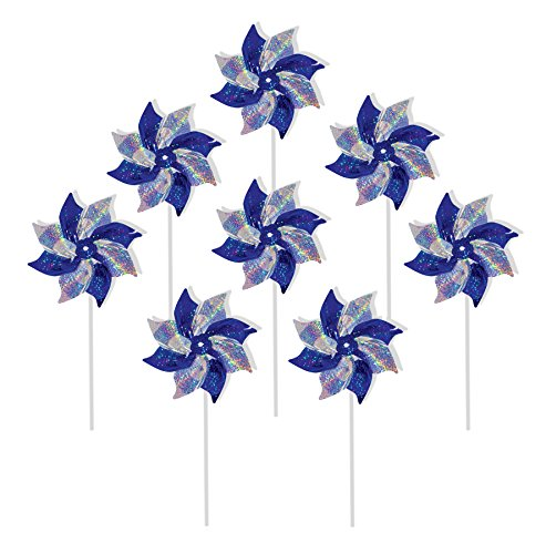 In the Breeze 2762 Blue & Silver Mylar Pinwheel Spinners, 8-Inch, Blue/Silver ()