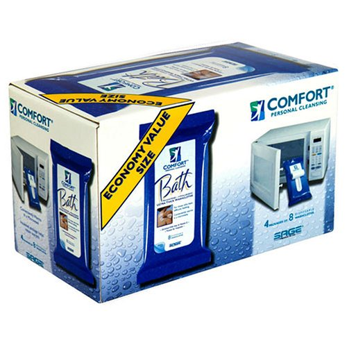 Comfort Bath Value Size! Personal Cleansing, Ultra-Thick Disposable Washcloths, 4 packs of 8 by Comfort