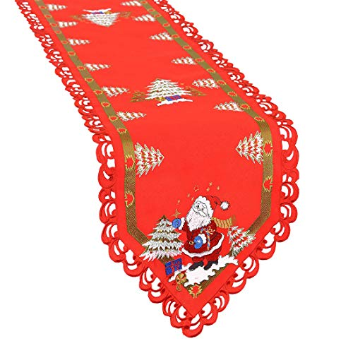 Simhomsen Santa Clause Table Runner For Christmas Holidays, Embroidered Holly Tree Surrounded (14 × 88 - Santa Table Runner