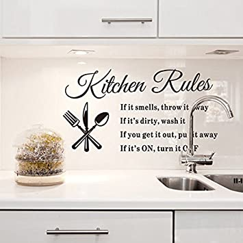 LSD Wall Stickers Removable Kitchen Rules Wall Mural Quote Letter Words  Fork Design Wall Decals Vinyl Part 65