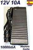 Cargador Coche Mechero 12V 10A 10000mA 120W vs Cable Alimentacion 220V 12V Para Nevera Frigorifico Congelador Frezee Compresor Minicompresor de Aire Aspiradora