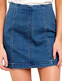 Women's Casual Denim High Waisted Zipped Stretch Jeans Short Skirts