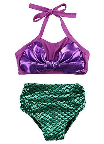 60ce95365d9ac CUSHY Kids Swimwear Girls Two Pieces Child Swimsuit with Bow Mermaid s for Children  Bikini Set y Girls Swim Suits Custome: Purple, 5 to 6 Years: Amazon.ca: ...
