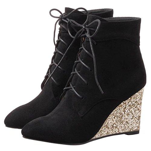 AIYOUMEI Damen Herbst Winter Keilabsatz Stiefeletten mit Glitzer Absatz und Schnürung Kurzschaft Stiefel Keilstiefel Schwarz